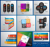Infographic design templates collection with paper tags. Royalty Free Stock Photos