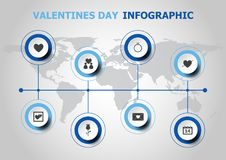 Infographic design with Valentines day icons Royalty Free Stock Photography