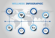 Infographic design with wellness icons Stock Photo