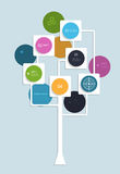 Infographic design with white squares and circles. Infographic  background design with white squares and circles.with place for your content.Growth tree concept Stock Photos