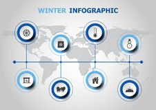 Infographic design with winter icons Stock Photography