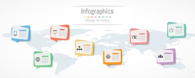 Infographic design for your business data with 8 options. World map of this image furnished by NASA Stock Photography