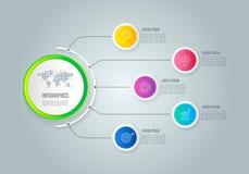 Infographic designaffärsidé med 5 alternativ, delar eller pro- Royaltyfria Bilder