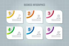 Infographic designaffärsidé med 6 alternativ, delar eller pro- Fotografering för Bildbyråer