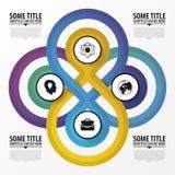 Infographic designbegrepp Fyra förbindelsecirklar vektor stock illustrationer