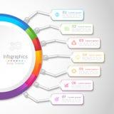 Infographic designbeståndsdelar för din affär med 7 alternativ royaltyfri bild