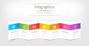 Infographic designbeståndsdelar för dina affärsdata med 7 alternativ Royaltyfri Bild