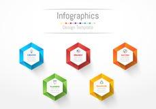 Infographic designbeståndsdelar för dina affärsdata med 5 alternativ Royaltyfri Bild