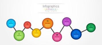 Infographic designbeståndsdelar för dina affärsdata med 9 alternativ Arkivfoton