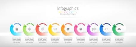 Infographic designbeståndsdelar för dina affärsdata med 9 alternativ Royaltyfria Bilder