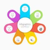 Infographic designbeståndsdelar för dina affärsdata med 7 alternativ Royaltyfria Bilder