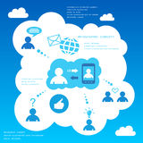 Infographic designbeståndsdelar för socialt nätverk Arkivbild