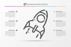 Infographic designmall Affärsidé med 6 moment Arkivfoto