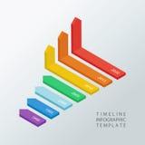 Infographic designmall för isometrisk timeline också vektor för coreldrawillustration Royaltyfri Fotografi