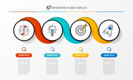 Infographic designmall Idérikt begrepp med 4 moment vektor illustrationer