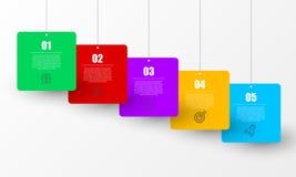 Infographic designmall Idérikt begrepp med 5 moment Arkivbild