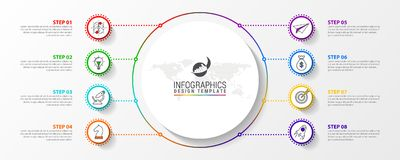 Infographic designmall Idérikt begrepp med 8 moment Royaltyfri Foto