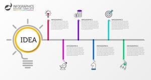 Infographic designmall Idérikt begrepp med 6 moment Royaltyfria Foton