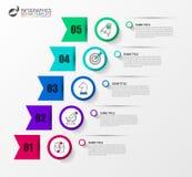 Infographic designmall Idérikt begrepp med 5 moment Royaltyfri Fotografi