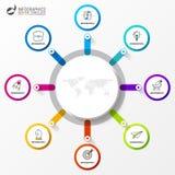 Infographic designmall Idérikt begrepp med 8 moment vektor illustrationer