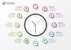 Infographic designmall Idérikt begrepp med 12 moment royaltyfri illustrationer