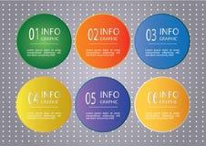 Infographic designmall med nummer sex alternativ royaltyfri illustrationer