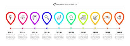Infographic designmall Timelinebegrepp med 10 moment stock illustrationer