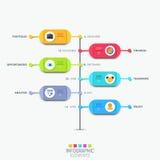 Infographic designorientering med vertikal timeline och 6 färgrika rundade beståndsdelar vektor illustrationer