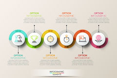 Infographic Designschablone der flachen Verbindungszeitachse mit Farbikonen lizenzfreies stockbild