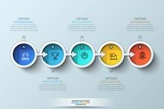 Infographic Designschablone der flachen Verbindungszeitachse mit Farbikonen stockbild