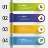 Infographic-Designschablone mit Ikonen fahne Auch im corel abgehobenen Betrag Stockfotos