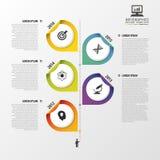 Infographic-Designschablone mit Punkten Modernes Geschäftskonzept Zeitachse Auch im corel abgehobenen Betrag Stockfotografie