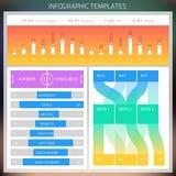 Infographic Designschablonen des Vektors Satz Diagramme und Elemente Stockfoto