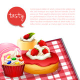 Infographic desserts with strawberry flavor Stock Photos
