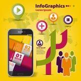 Infographic determinado del extracto en trabajo en equipo en negocio Foto de archivo libre de regalías