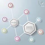 Infographic deux hexagones huit options illustration stock
