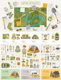Infographic di campeggio ha messo con i grafici ed altri elementi Immagini Stock