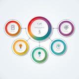 Infographic diagram i den tunna linjen stil Vektorbanret med 5 alternativ, cirklar, särar Royaltyfri Fotografi