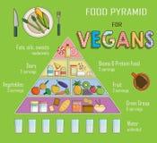Infographic diagram, illustration av en matpyramid för vegetarisk näring Visar sund matjämvikt för lyckad tillväxt, educ Arkivfoton
