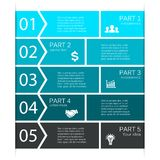 Infographic, diagram, 5 options, parts, steps. Stock Photo