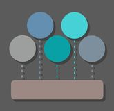 Infographic, diagram, sectoren, vijf cirkels, één rechthoek, vlakke kleur, stock illustratie