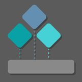 Infographic, diagram, three sectors, squares, one rectangle, color, flat. Stock Photography