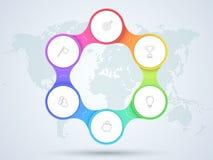 Infographic diagrama do negócio de 6 pontos com mapa do mundo Fotos de Stock Royalty Free