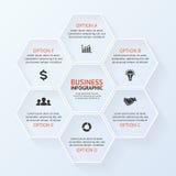 Infographic, diagrama, opciones de la presentación 6 stock de ilustración