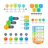 Infographic diagrams. Strategy finance charts for business presentation. Planning menu and timeline vector set. Diagram finance connected, infographic workflow Royalty Free Stock Photo