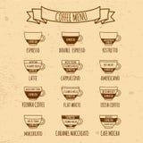 Infographic dibujada mano del menú de Coffe Fotos de archivo