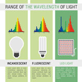 Infographic different lamps with wavelength Stock Photo