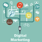 Infographic - digitaal marketing concept Stock Foto's