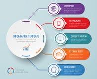 Infographic dla biznesowej prezentaci z kółkowymi elementami i opcja wektoru szablonem ilustracja wektor