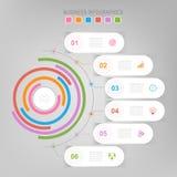 Infographic do elemento do círculo, projeto liso do vetor do ícone do negócio Imagem de Stock